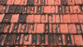 Rooftop Baked Clay Tiles Old And Weathered Stock Footage. Red rooftop baked clay tiles old and weathered panning camera high definition stock footage clip stock video footage
