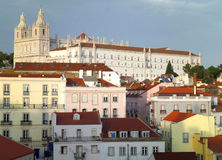 Red Rooftops and Pastel Color of the Architectures in Lisbon. Portugal Stock Photography