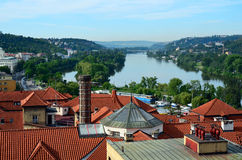 Red rooftops and river view - Prague Stock Photo
