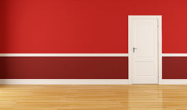 Red room. Empty red room with closed white door-rendering Royalty Free Stock Photo