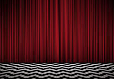 Red Room Background With Velvet Curtains And Black White Floor Royalty Free