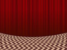 Red Room Background With Velvet Curtains Stock Image