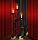 red room and black chandelier Stock Photography