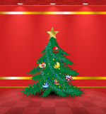 Red room with Christmas tree Stock Photography