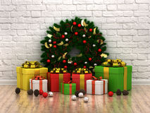 Red room with christmas-tree and colorful gift Royalty Free Stock Photo