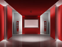 Red room with LCD display Royalty Free Stock Photo