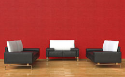 Red Room Leather Armchairs and Sofa. Red Room - Leather Armchairs and Sofa Stock Photo