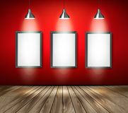 Red room with spotlights and wooden floor. Royalty Free Stock Photography