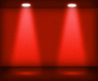 Red Room with Two Spotlights Stock Image