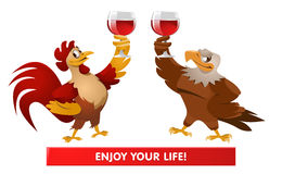 Red Rooster and American Bald eagle giving a toast. Cheers. Gree. Ting. Celebrations. Cartoon styled vector illustration. Elements is grouped and divided into Stock Photography