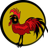 Red Rooster in black frame. Folk art red rooster in black frame Royalty Free Stock Photos