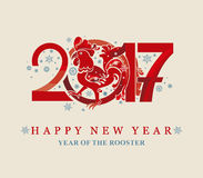 Red Rooster in circle. New Year 2017. Royalty Free Stock Photography