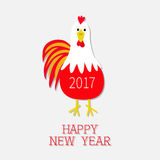 Red Rooster Cock bird. 2017 Happy New Year text symbol Chinese calendar. Cute cartoon funny character with big feather tail. Baby. Farm animal. White background Stock Photo