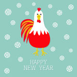 Red Rooster Cock bird. Snow flake. 2017 Happy New Year symbol Chinese calendar. Cute cartoon funny character with big feather tail. Baby farm animal. Blue Stock Image