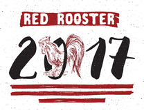 Red rooster or cock symbol of 2017 year. Hand drawn sketch illustration. Stock Image