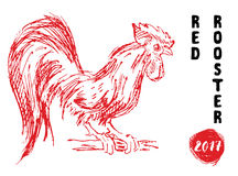 Red rooster or cock symbol of 2017 year. Hand drawn sketch vector illustration. Stock Image