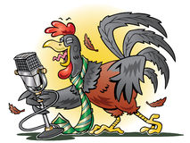 Red rooster crowing into a microphone. Cartoon illustration of a red rooster wearing a necktie and crowing into a microphone stock illustration
