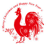 Red Rooster decorated with snowflakes. Red Rooster decor. Red cock  template for New Year's design. Silhouette of rooster, symbol of 2017 Stock Images