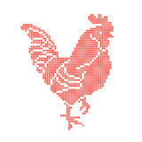 Red Rooster embroidered by cross  on white background. Stock Images