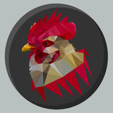 Red rooster. Fiery red rooster in the style of triangle Stock Photos