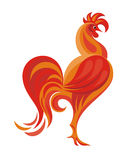 The red rooster. Fiery Rooster - a symbol of new 2017 on the Chinese horoscope Stock Photo