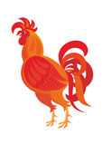 The red rooster. Fiery rooster - a symbol of new 2017 on the Chinese horoscope Royalty Free Stock Images