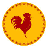 Red Rooster in a frame with an ornament Royalty Free Stock Photo