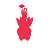 Red rooster frontal  in santa hat Stock Photo
