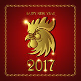 Red Rooster in gold symbol of new year 2017, vector illustration. Red Rooster in gold symbol of new year 2017 on the Chinese calendar. Template for design Stock Photo