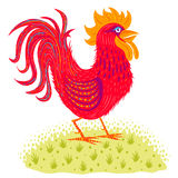 Red rooster. On green grass. Symbol new year Royalty Free Stock Photo