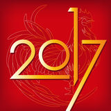 Red rooster. Happy Chinese new year 2017. Vector. Red rooster, symbol of 2017 on the Chinese calendar. Happy new year 2017 card for your flyers and greetings Stock Photography