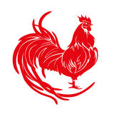 Red rooster. Happy Chinese new year 2017. Vector. Red rooster, symbol of 2017 on the Chinese calendar. Happy new year 2017 card for your flyers and greetings Stock Illustration