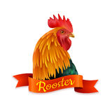 Red Rooster Head Profile Colorful Image. Classic red country rooster head turned aside closup image colorful picture with ribbon text vector illustration Royalty Free Stock Images