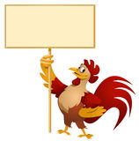 Red Rooster holding blank banner. Cartoon styled vector illustration. No transparent objects. Isolated on white Stock Photo