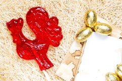 Red rooster lollipop Stock Photos