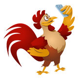 Red rooster making selfie. Red fire rooster making selfie. Cartoon styled vector illustration. Elements is grouped. No transparent objects Stock Image
