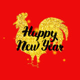 Red Rooster New Year Poster Stock Photo