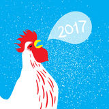 Red Rooster New Year symbol on the Chinese calendar. Rooster, 2017 New Year symbol on the Chinese calendar. Silhouette of white cock. Vector illustration Royalty Free Illustration