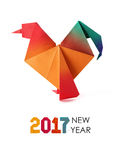 Red rooster origami. Red origami paper geometric 2017 new year rooster cock on a white background Royalty Free Stock Photography