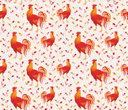 Red rooster pattern. Fiery rooster - a symbol of new 2017 on the Chinese horoscope. Seamless pattern Royalty Free Stock Images