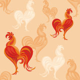 Red rooster pattern Royalty Free Stock Photo