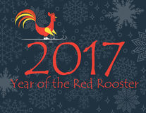 Red rooster riding on skis by number 2017, snowing background. Vector illustration Stock Illustration