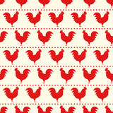 Red rooster seamless pattern. Symbol of 2017 year. Chinese New Year of the Rooster. Oriental happy new year illustration Royalty Free Stock Images
