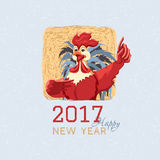 Red Rooster with a straw. Happy new year card with rooster. Cock in a square with a straw background grey tail, red comb. Vector illustration of symbol of 2017 Royalty Free Stock Images