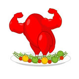 Red rooster strong on plate with vegetables. Red cock Symbol of. New year. Powerful baked turkey with big biceps. Fowl bodybuilder. Fitness food for holiday Stock Photography
