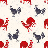 Red rooster, symbol of 2017. Red rooster, symbol of 2017 on the Chinese calendar. Hand drawn rooster isolated on white Royalty Free Stock Photography
