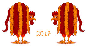 Red Rooster, symbol of 2017 on the Chinese calendar. Vector illustration of Red Rooster, symbol of 2017 on the Chinese calendar Royalty Free Stock Photos