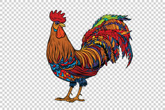 Red rooster, the symbol of 2017. Pop art retro vector. Chinese horoscope. Farm animal. Transparent checkered background Royalty Free Stock Images