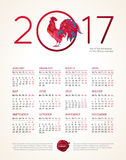 Red Rooster symbol of 2017, vector calendar. Vector calendar for 2017. Illustration of Red Rooster, symbol of 2017 on the Chinese calendar. Silhouette of cock Royalty Free Stock Photos