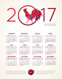 Red Rooster symbol of 2017, vector calendar. Vector calendar for 2017. Illustration of Red Rooster, symbol of 2017 on the Chinese calendar. Silhouette of cock Stock Photography